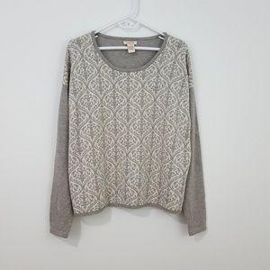 SUNDANCE Gray Merino Wool Damask Sweater XL